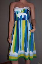 Beautiful! CALVIN KLEIN Rainbow Watercolor Strapless Summer Dress Size 2 EUC