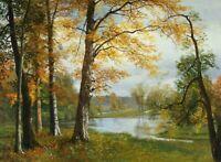 A Quiet Lake Albert Bierstadt Fine Art Print on Canvas Giclee Ladscape Decor SM