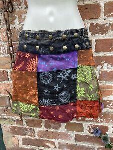 Short Gringo Cotton wrap/popper skirt hippie/boho/festival free size