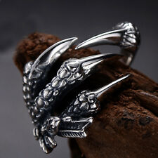 Mens Vintage Retro Punk Biker 316L Stainless Steel Black Silver Dragon Claw Ring