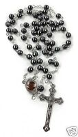 Hematite Rosary Black Stone Beads Necklace Jerusalem Holy Soil Cross Crucifix