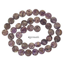 "15.5"" Russian Charoite Flat Round Coin Beads ap. 10mm #86240"