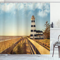 Beach Shower Curtain Lighthouse Sea Waves Print for Bathroom