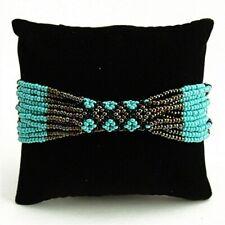 NEW ZULU Czech Glass Bead TURQUOISE BRONZE Bracelet Cuff Bangle Guatemala