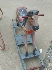 Antique Hand Carved Wooden Rocking Horse w/Full Authentic Horse Hair Tail