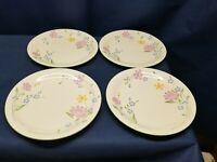 "Vintage Sango ""Fresh Flowers"" Set/4 Dinner Plates Pink/Yellow Flowers 8499 JAPAN"