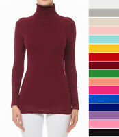 S M L Women's Basic Scrunch Turtleneck Top Stretch Knit Cotton Solid Long Sleeve