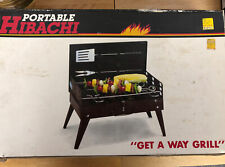 Vintage Hibachi All Steel Barbeque Grill New In Box W Utensils