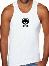 NW MEN'S PRINTED SKULL HEADPHONE FUNNY HIPSTER MUSIC HIP HOP COTTON TANK TOP