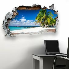 BROKEN WALL JAMAICAN BEACH KIDS BEDROOM WALL STICKER VINYL TRANSFER MURAL DECAL