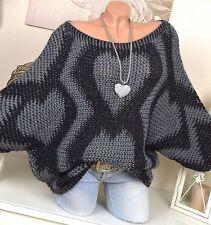 extra-large Pull tricot chauve-souris Manche Vintage Gris Noir Cœur 36 38 40 42