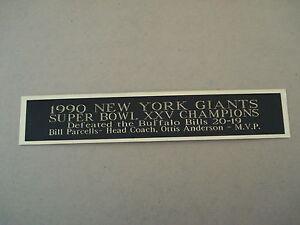 New York Giants Super Bowl 25 Nameplate For A Football Mini Helmet Case 1.5 X 6