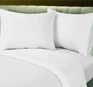 LOT OF 12 NEW WHITE HOTEL LINEN COTTON BLEND QUEEN SIZE FLAT SHEET PERCALE T-250