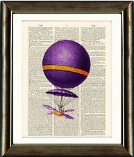 Old Antique Book page Art Print-Purple Hot Air Balloon Dictionary Page Wall Art
