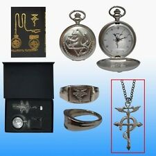 Cosplay Fullmetal Alchemist Pocket Watch + Necklace + Ring Set  AE29