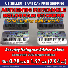 100 Warranty Void BAR-CODE Hologram Security Label Stickers Tamper Evident Seals