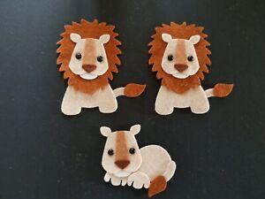 X3 Felt Lion Embellishments. Die cuts . Animal die  cuts