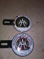 Pair Vintage AAA Automobile Club Pennsylvania License Plate Topper Badge Emblem