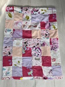 Handmade Pink Baby Fleece Crib Blanket/ Comforter - Harrods Fabric Patchwork