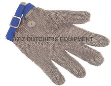 5 Finger Chainmail Protective Glove, Flexible strap, Full Hand Protection, LARGE