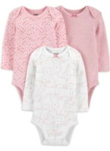Carters Child Of Mine Baby Girl 3 Pack Onsies / Body Suit Size 12 Months