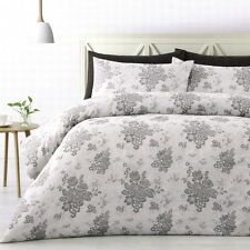 CECILY King Quilt Cover Set Duvet Doona Silver GREY Roses Polyester Jacquard