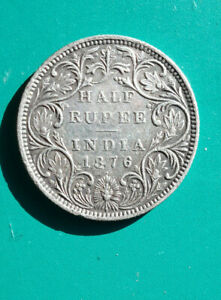 Half Rupee Coin. 1876 Indian