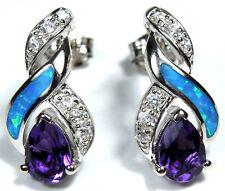 Amethyst & Blue Fire Opal Inlay 925 Sterling Silver Post Earrings