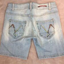 Vigoss Women's Light Blue Demin Shorts Bling Pockets Purpose Bleach Dots Size 5