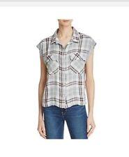 Bella Dahl Flap Pocket Plaid Crop Shirt-Palm Canyon Sz Medium, Palm Canyon $114.