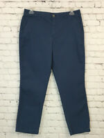J Crew Womens Casual Capri Dress Pants Size 12 Blue Slim Chino Cropped Khaki