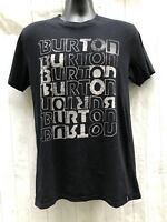 Burton Slim Fit Spell Out Logo Black T Shirt Mens M Made In USA