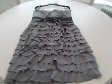 H&M GREY with BLACK WAISTBAND PARTY DRESS 14/16  Eur 42   NEW