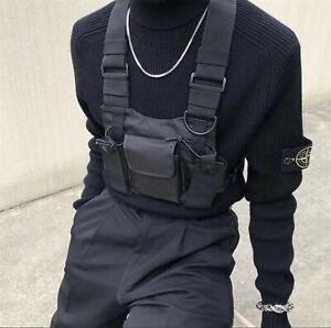 Universal Radio Chest Rig Harness Bag Oxford Talkie Holster Vest Pack Black