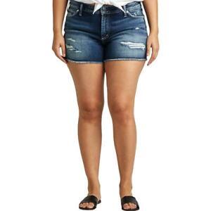 Silver Jeans Co. Womens Blue Destroyed Curvy Denim Shorts Plus 14 BHFO 1898