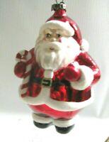 "Bethany Lowe Mercury Glass Santa Claus Xmas Ornament Hand painted  5"" NEW"