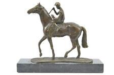 BRONZE SCULPTURE RACE HORSE FEMALE JOCKEY ART DECO HOME OFFICE DECOR FIGURINE