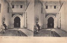 Carte postale stéréoscopique MAROC MOROCCO 15 LL TANGER porte de la casbah