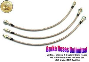 STAINLESS BRAKE HOSE SET Hudson Commodore Six & Eight 1952
