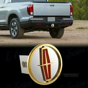 "For LINCOLN Gold Logo Stainless Hitch Cover Plug Cap For 2"" Trailer Tow Receiver"