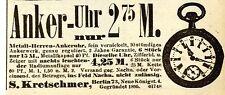 S.Kretschmer Berlin METALL- HERREN - ANKERUHR Historische Reklame von 1915