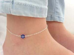 "18K White Gold Over Blue Gemstone Evil Eye 9.5"" Chain Boho Anklet Foot Jewelry"