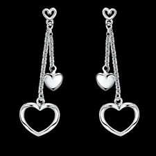 Women's Fashion Silver Plated Drop Dangle Love Heart Earring