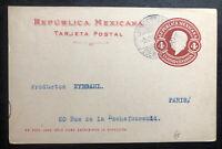 1912 Queretaro Mexico Stationery Postcard  Cover To Paris France