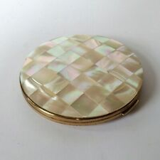 Large Stratton Elizabeth Arden Mother of Pearl Powder Compact English Midcentury