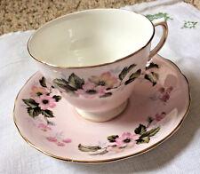 Vintage Colclough Bone China Pink Floral Tea Cup And Saucer