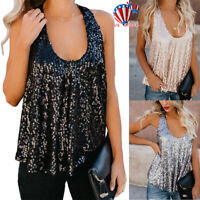 Women Lady Sequined Bling Shiny Looose Tank Tops Sleeveless T Shirts Blouse Vest