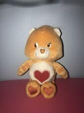 "Care Bears Tenderheart Bear, 8"" Brown-Orange Plush w/Heart Belly, 2002"