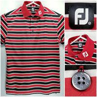 FootJoy FJ Mens Medium Golf Shirt Polo Red White Black Striped