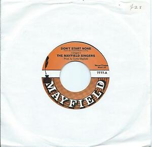 Mayfield Singers:Don't start none Vocal and instrumental:Northern Soul Re-Issue